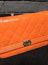 100% AUTH CHANEL Boy WOC Quilted Patent Leather Orange Wallet on Chain Flap Bag  image 6
