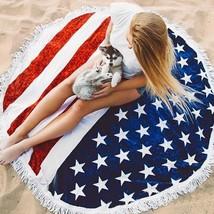 Round Beach Towel American Flag Patriotic 4th of July Large Pool Stripes... - $20.56