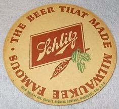 Schlitz Beer Mat Coaster Two Sided A Milwaukee Wi 1940's   - $7.95
