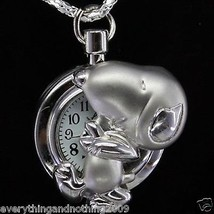 Cute DOG PUPPY Necklace Pocket Watch / Pendant  Key Chain & sparkling chain - $4.14