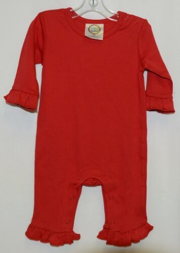 Blanks Boutique Red Long Sleeve Snap Up Ruffle Romper Size 6M