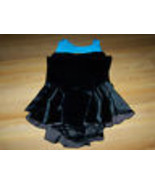 Adult Size Small AS EM's Black Velour Turquoise Skirted Dance Skating Le... - $32.00