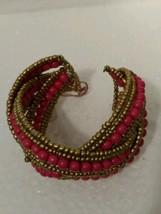 Vintage Pink Multi Seed Bead Braided Cuff Bracelet - $12.19