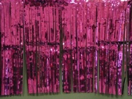 "Metallic Hot Pink Fringed Garland Valance Party decoration 10 ft long x 15"" - $7.91"