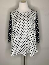 Marimekko Womens Top T-Shirt Polka Dots White Black Kampi Pallo Flare Sz... - $55.95