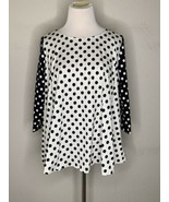 Marimekko Womens Top T-Shirt Polka Dots White Black Kampi Pallo Flare Sz... - $55.95
