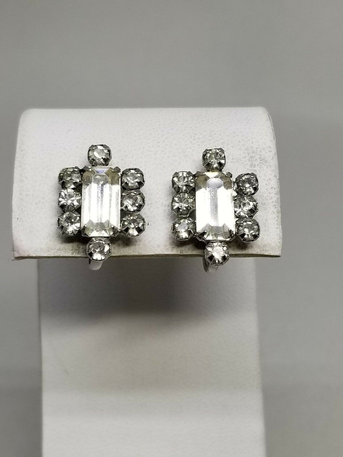 Vintage Rhinestone Screw in Earrings from 1940s