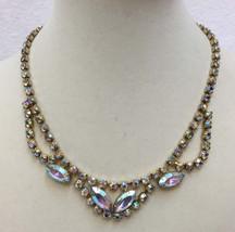 "Rhinestone Choker Necklace w/ Iridescent Rhinestones Aurora Borealis 15"" Vintage - $28.70"