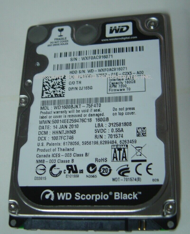 "NEW 160GB SATA 2.5"" 9.5MM Hard Drive WD WD1600BJKT Free USA Shipping"
