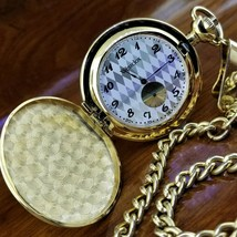 WESTCLOX Gold TN Argyle Dial Embossed Crest Pocket Watch  - $69.95