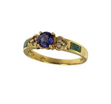 Tanzanite Ring with Opal and Diamonds in Yellow Gold - $799.00
