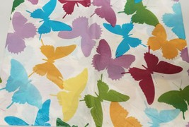 "Thin Tablecloth Vinyl Flannel Back, 52"" x 90"" Oblong, COLORFUL BUTTERFLI... - $8.90"