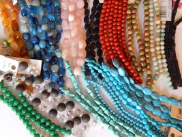 $340+ RETAIL-NWT STONE BEAD STRANDS-MIXED LOT-OVER 900 BEADS-47 STRANDS-... - $123.75