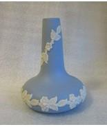 Vintage ECANADA JASPERWARE BUD VASE BLUE White  BLOSSOM LEAF VINE   - $14.80
