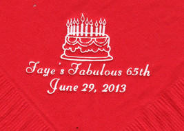 Birthday Cake Logo 50 Personalized Printed Luncheon Dinner Napkins - $11.87+