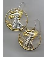 24k Gold & Silver Cut-out Earrings, US Walking Liberty 1/2 Dollar, 90% S... - $224.21
