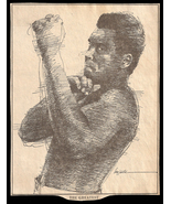 Ali Boxing Champion Vintage Sports Cartoon Newspaper Clipping Boxing Sketch - $14.99
