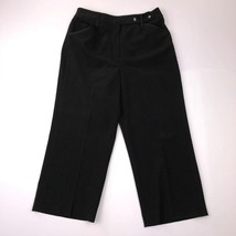 Larry Levine Women's Size 4 Black Stretch Wide Crips Cropped Dress Pants - $18.79