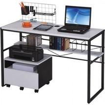College Student Desk Writing Computer Black Metal Frame Table Laptop Dor... - $139.99