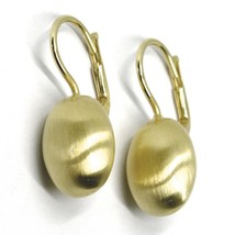 925 STERLING SILVER PENDANT EARRINGS, 14mm YELLOW OVAL NUGGET LEVERBACK, SATIN image 1
