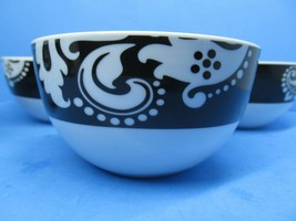 Shannon Palace Damask Noir White On Black On White Cereal Bowls Set Of 4... - $57.82