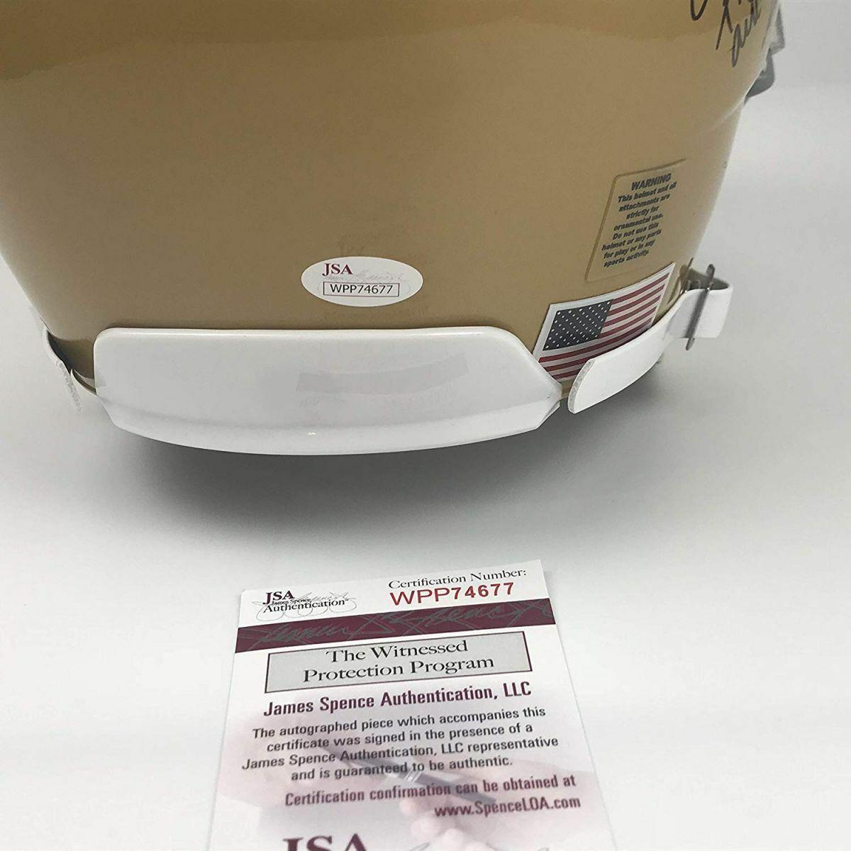 Autographed/Signed RUDY RUETTIGER Speech Notre Dame Full Size FS Helmet JSA COA image 3
