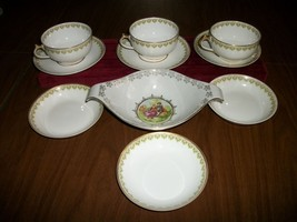 ANTIQUE GDA HAVILAND  Limoges FRANCE  3 cups/saucers+5 berry bowls + bowl - $34.64