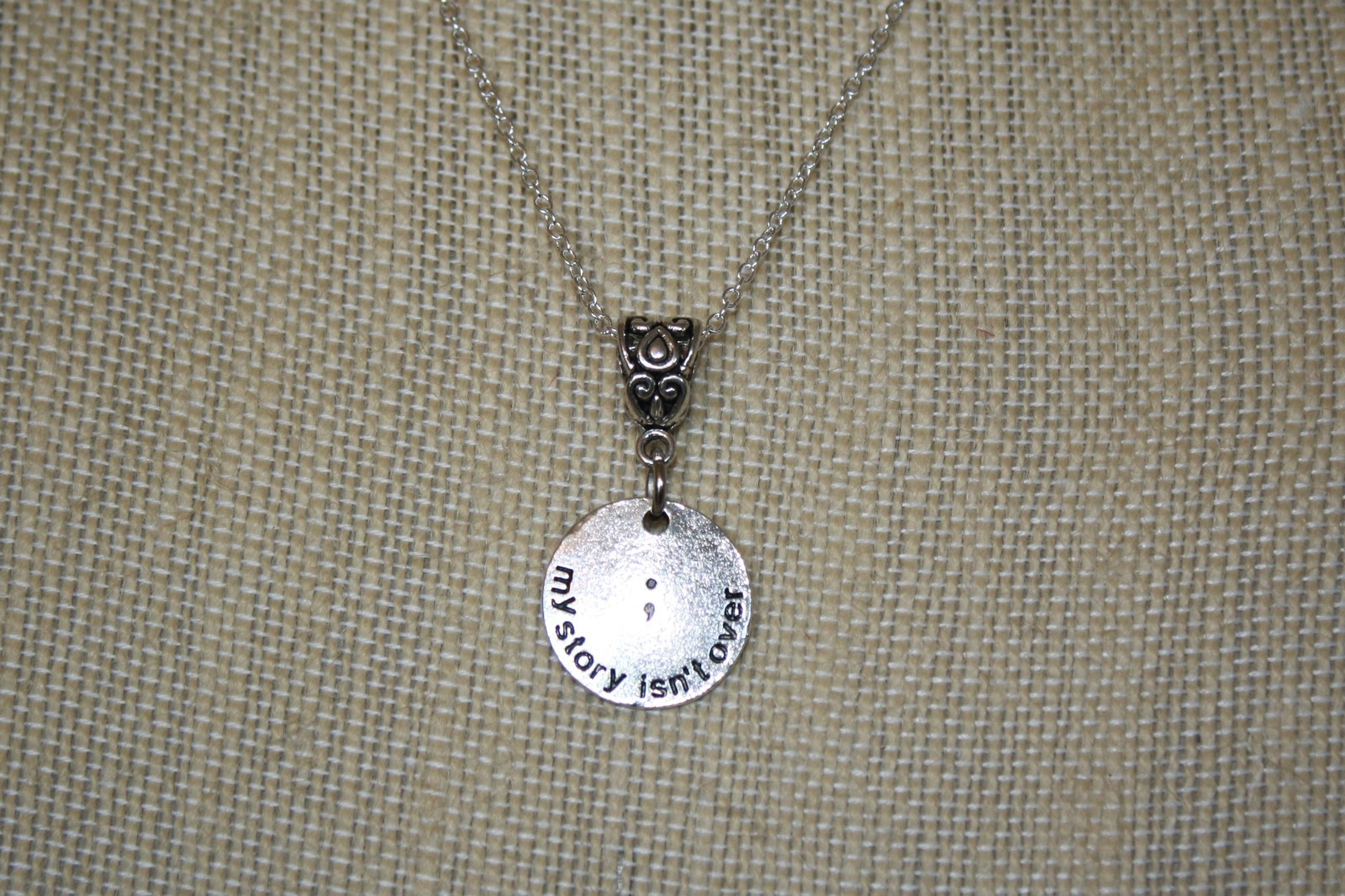 """My Story Isn't Over Yet ~ Semicolon Project ~ 20"""" Necklace"""