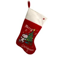 Musical SNOOPY MERRY CHRISTMAS STOCKING Peanuts Decoration Holiday Gemmy... - $29.99