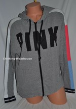 Victoria's Secret PINK Slouchy Full Zip Hoodie Sweatshirt Grey Black Log... - $59.99