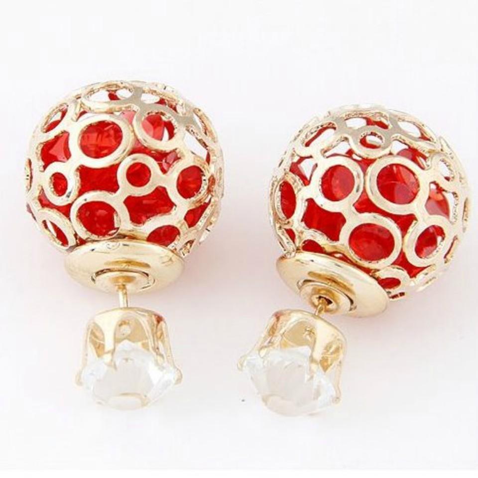 Double Sided Pearls Hollow Stud Earrings