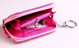 """Hello Kitty 4.5"""" x 3"""" Pink Silver Heart Zippered Coin Wallet NEW image 2"""