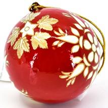 Asha Handicrafts Painted Papier-Mâché Red & Gold Snowflakes Christmas Ornament image 2