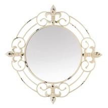 Accent Plus Antique White Fleur-De-Lis Wall Mirror - $89.89