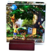 Thomas Kinkade Winnie the Pooh Prints 4 Piece Fused Glass Coaster Set w Holder image 3