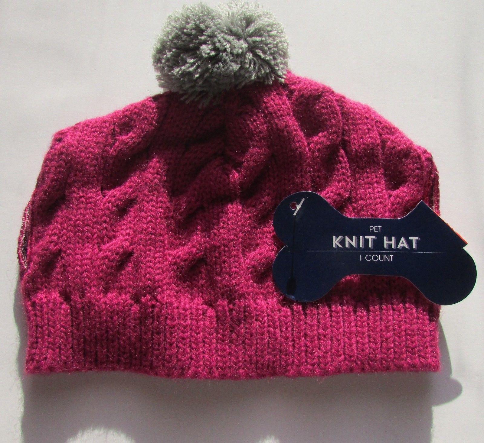 Pet Hat & Bandana Cat, Dog etc. Pink Pom Pom & Gray  Sz Medium NWT Set
