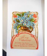 Vintage VALENTINE CARD Pop-Up diecut Floral VICTORIAN GERMANY - $8.86