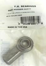 NEW F.K. BEARINGS SCF7T 2-PIECE STAINLESS STEEL 7/16 X 7/16 W/ TEFLON LINER