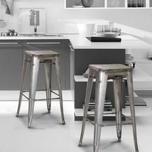 Adeco 30inch Matt Galvanised Steel Metal Bar Stools Multi-Color Wooden S... - $123.49