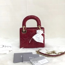 NEW Authentic Christian 2019 Lady Dior Small Red Patent Shoulder Tote Bag GHW - $2,999.99