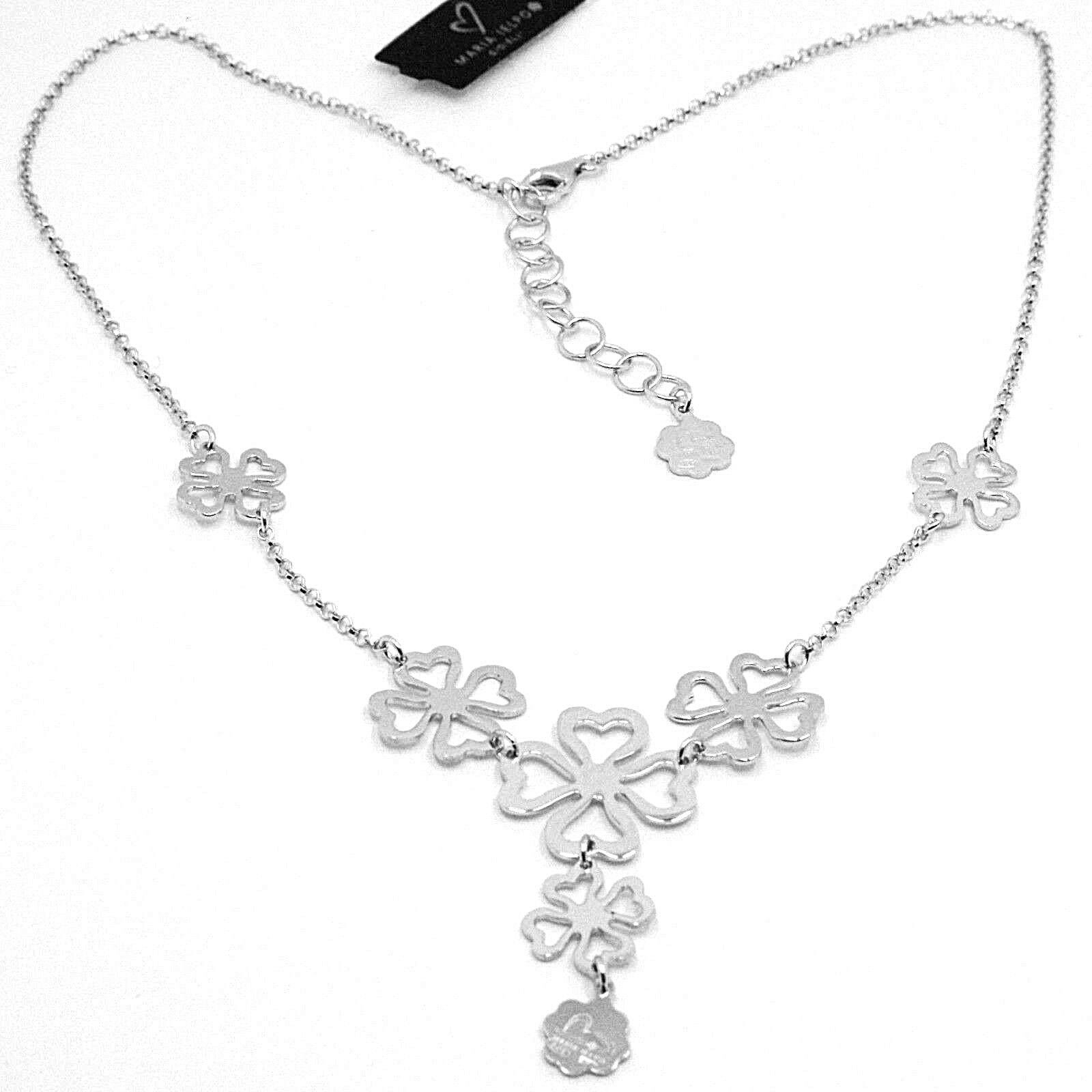 SILVER 925 NECKLACE,FOUR-LEAF CLOVER GOOD LUCK CHARM,BY MARY JANE IELPO,