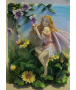 DECORATIVE THREE DIMENSIONAL FAIRY WALL PLAQUE WITH PURPLE FLOWERS - $51.98