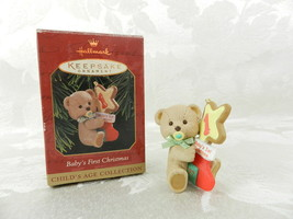 Hallmark Christmas Ornament Baby's First Christmas 1997 Bear with Stocking - £12.21 GBP