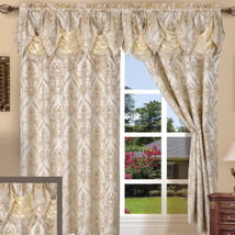 4 pc Window Set Ivory Cream Curtains Panels Drapes Pair Valance 84 in Da... - $41.48