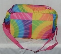 Molly N Me Brand 522B005 Rainbow Tie Dye Girls Duffle Bag With Flower Detail image 5