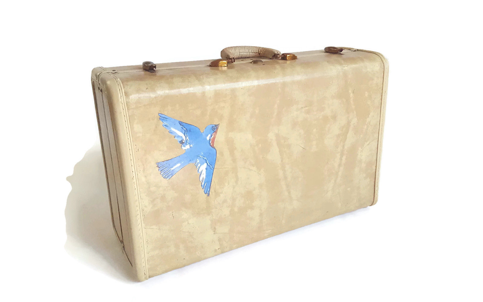Vintage Samsonite White Marbled Hardside Suitcase Luggage Bluebird Shabby 21""