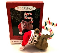 Hallmark '95 Child's Fifth Christmas Age Collection Keepsake Ornament Teddy Bear - $13.86