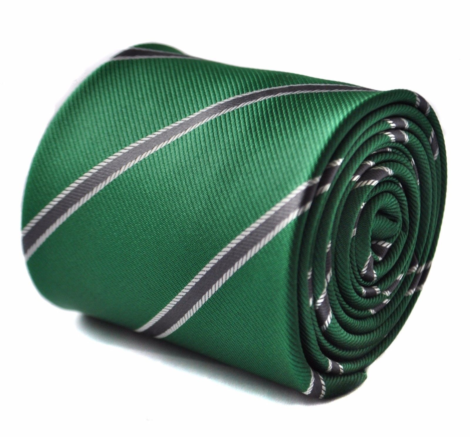 Frederick Thomas dark green and grey club striped mens tie FT1703