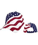 American Flag Cap Patriotic Hat Red White and Blue Stars and Stripes - $10.40