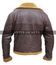 B3 Ginger Aviator Shearling Flying Pilot Real Sheepskin Bomber Leather Jacket image 6